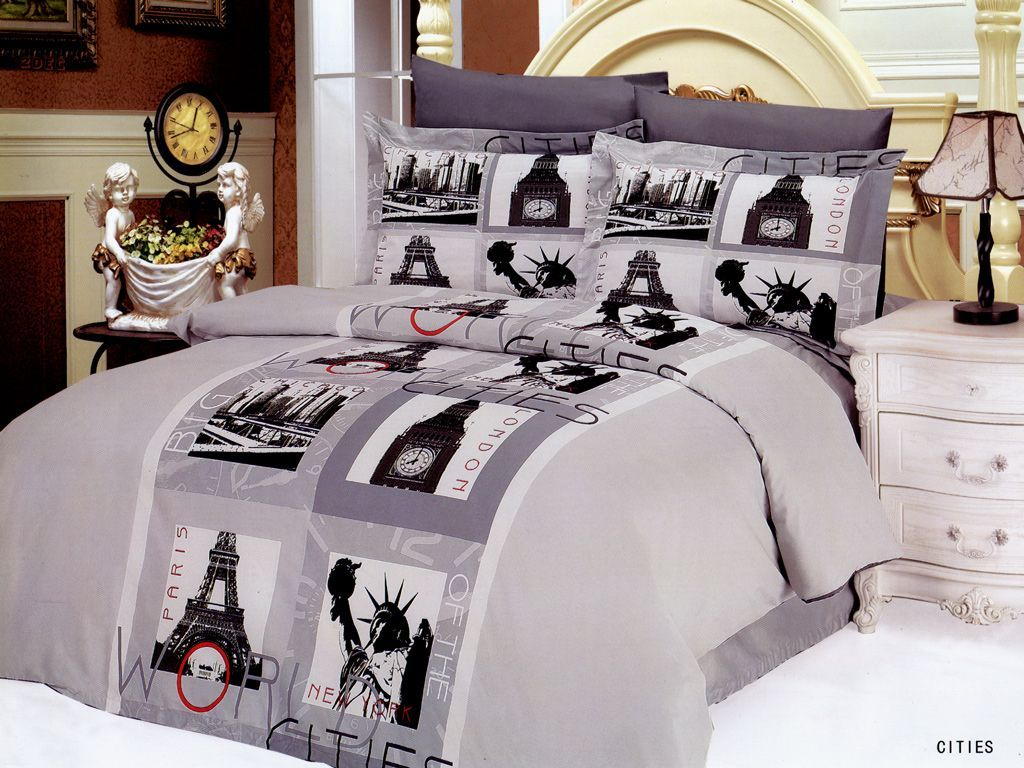 Le vele cities bedding le90q low price world cities for City themed bedroom ideas