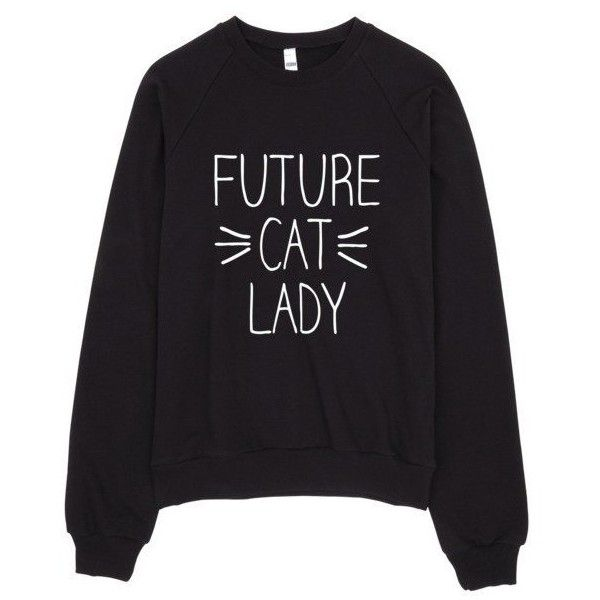Future Cat Lady Whiskers Meow Sweater (€38) ❤ liked on Polyvore featuring tops, sweaters, cat print sweater, crew fleece sweaters, crew sweater, crew neck sweaters and fleece tops