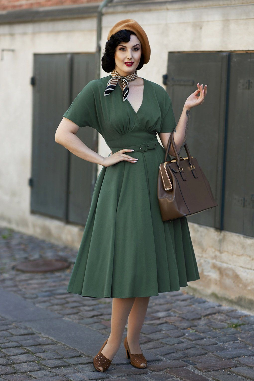 50s Athena Dolman Swing Dress In Dark Green Swing Dress Long Sleeve Pencil Dress Vintage Inspired Outfits [ 1530 x 1020 Pixel ]