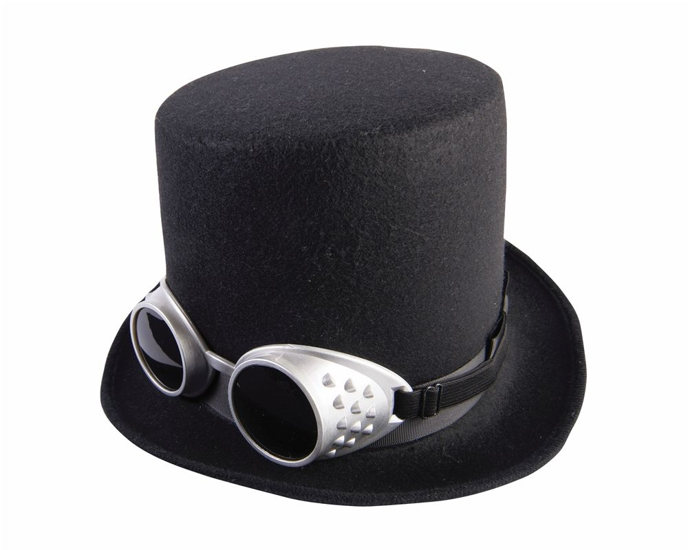 b74d93531a0456 Steampunk Black Hat With Googles - This product includes top hat with  googles. Description from thecostumeland.com. I searched for this on  bing.com/images