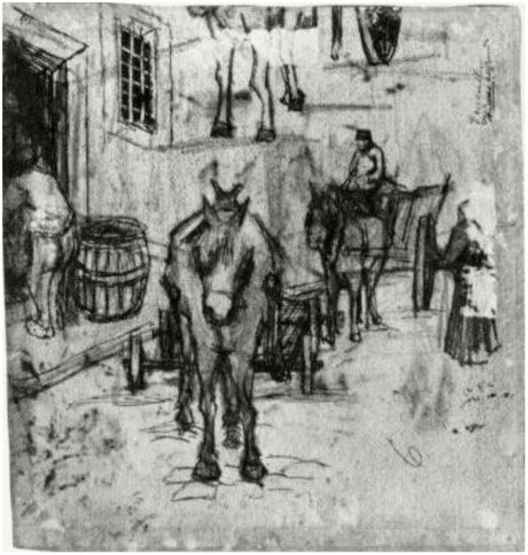 vincent van gogh studies of donkey carts drawing