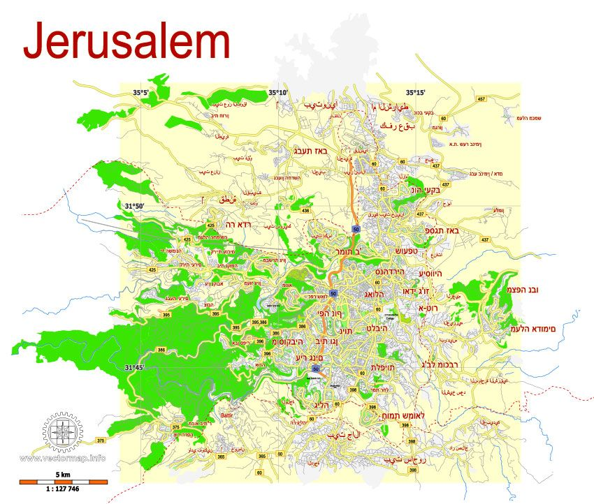 Printable PDF Map of Jerusalem, Israel, vector map Adobe PDF ...