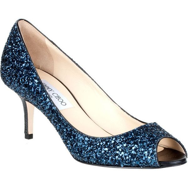 227c7ae245 Jimmy Choo Isabel Navy Glitter Pump ($550) found on Polyvore | a ...