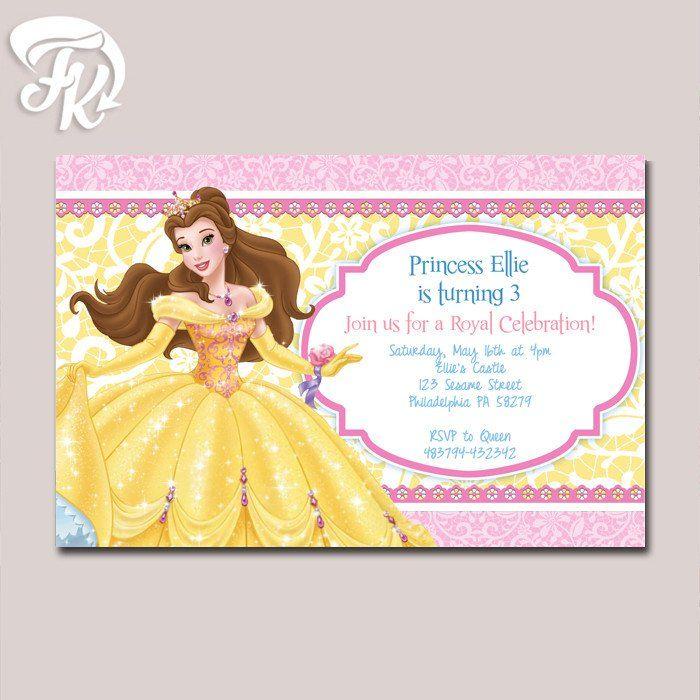 princess belle beauty disney birthday party card digital, Birthday invitations