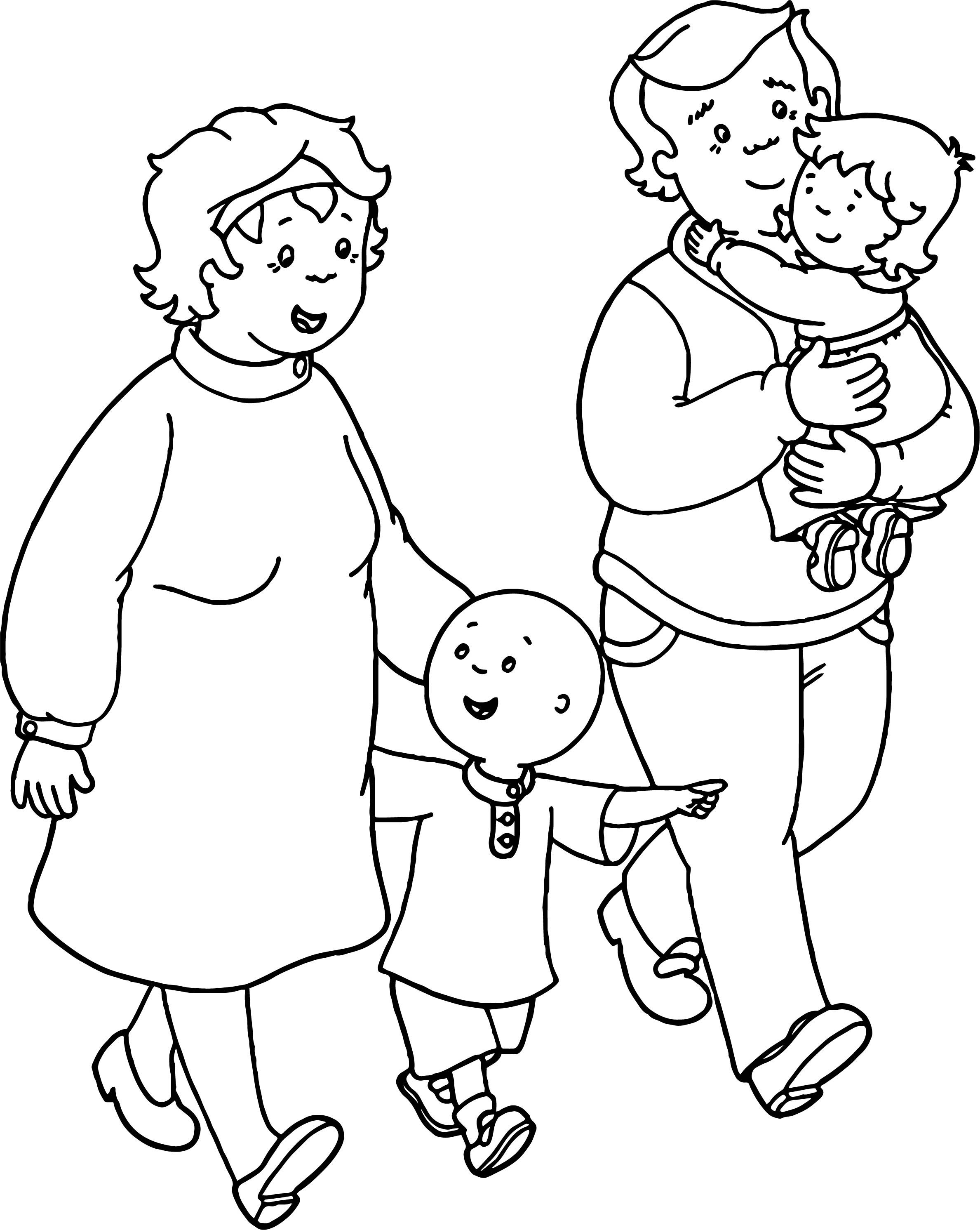 Nice Caillou Family Coloring Page