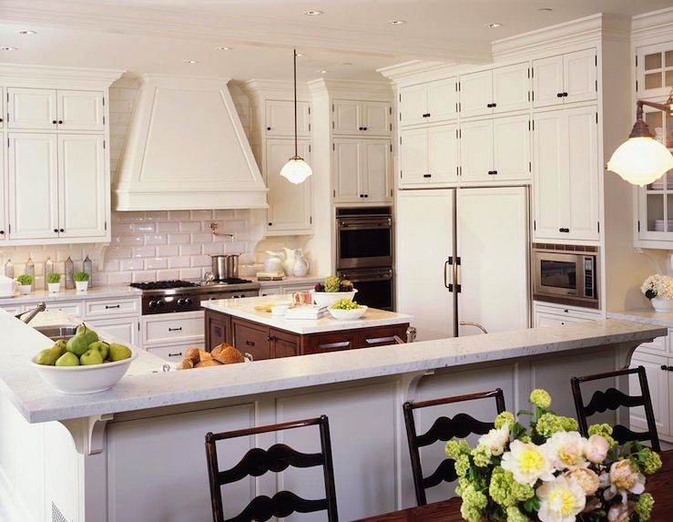 Beau Traditional Kitchen Design With White Kitchen Cabinets With Oil Rubbed Bronze  Hardware, Coffee Stained Kitchen Island, Granite Counter Tops, Glossy  Beveled ...