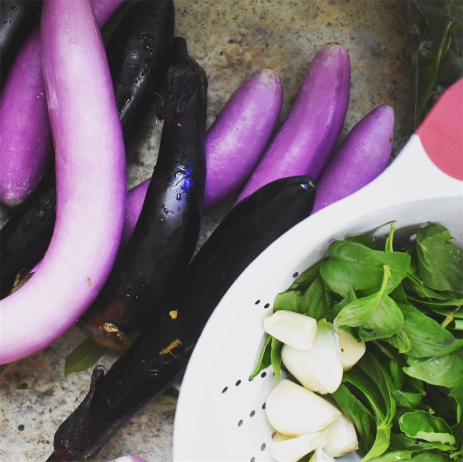 Fabulous meal thanks to inspiration via @bonappetitmag #farmersmarketchallenge only we didn't have to leave our backyard! 😂 #healthyish #eggplant #basil