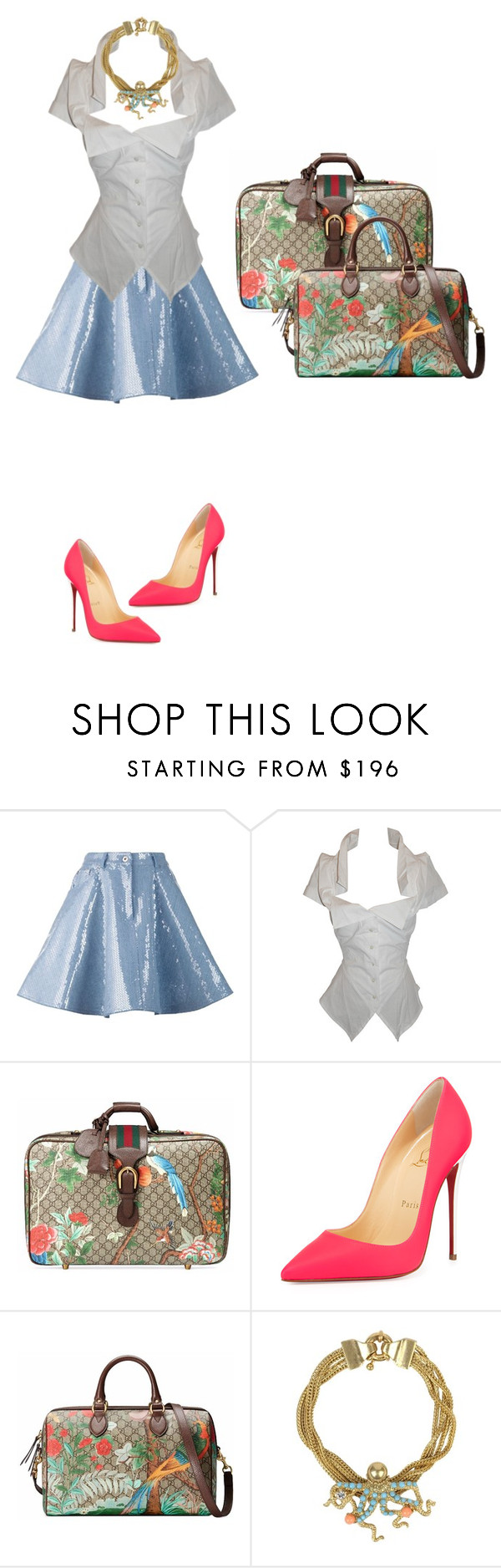 """""""Princess Sophia."""" by misnik ❤ liked on Polyvore featuring Moschino, Vivienne Westwood, Gucci, Christian Louboutin, Les Néréides, women's clothing, women, female, woman and misses"""