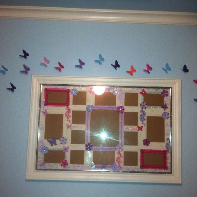 homemade picture frame and paper dancing butterflies for my daughters nursery