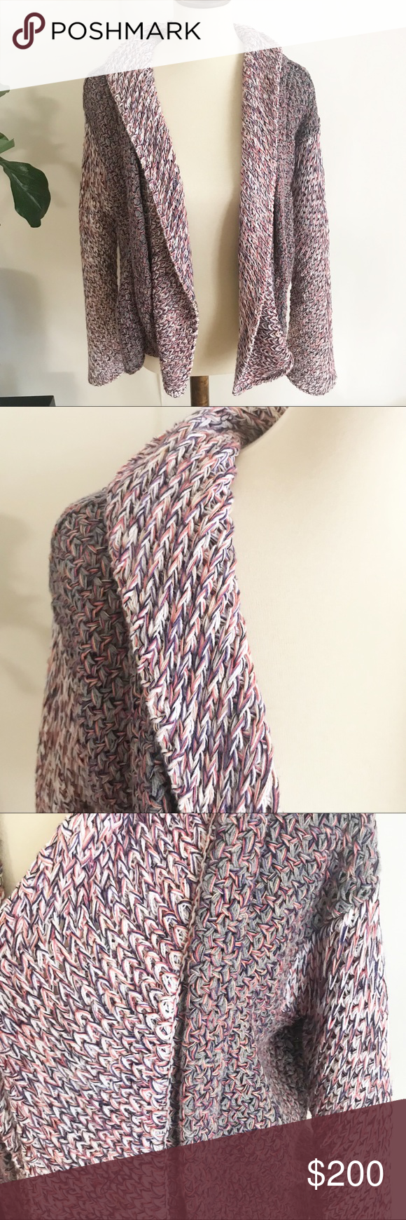 See by Chloe chunky sweater cardigan Rare See by Chloe Sweater cardigan shrug Multicolored yarn knitted-purple, blue, yellow, white, gray Sz 6      E-v66 See By Chloe Sweaters Cardigans #seebychloe