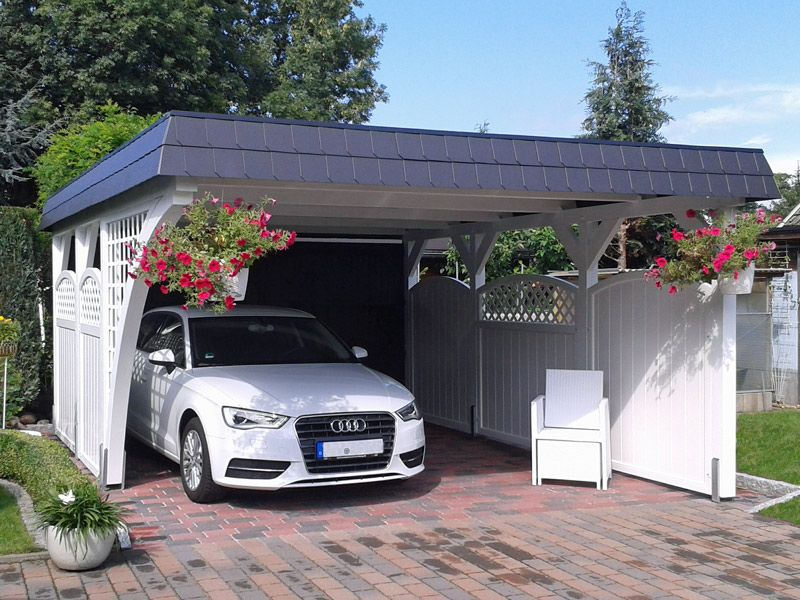 startbild definitely a double car white one carports. Black Bedroom Furniture Sets. Home Design Ideas