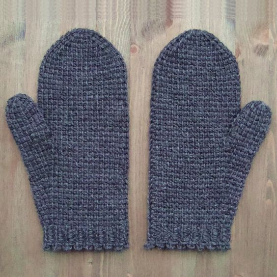 Tunisian crochet mittens - free pattern More | Tunisian crochet ...