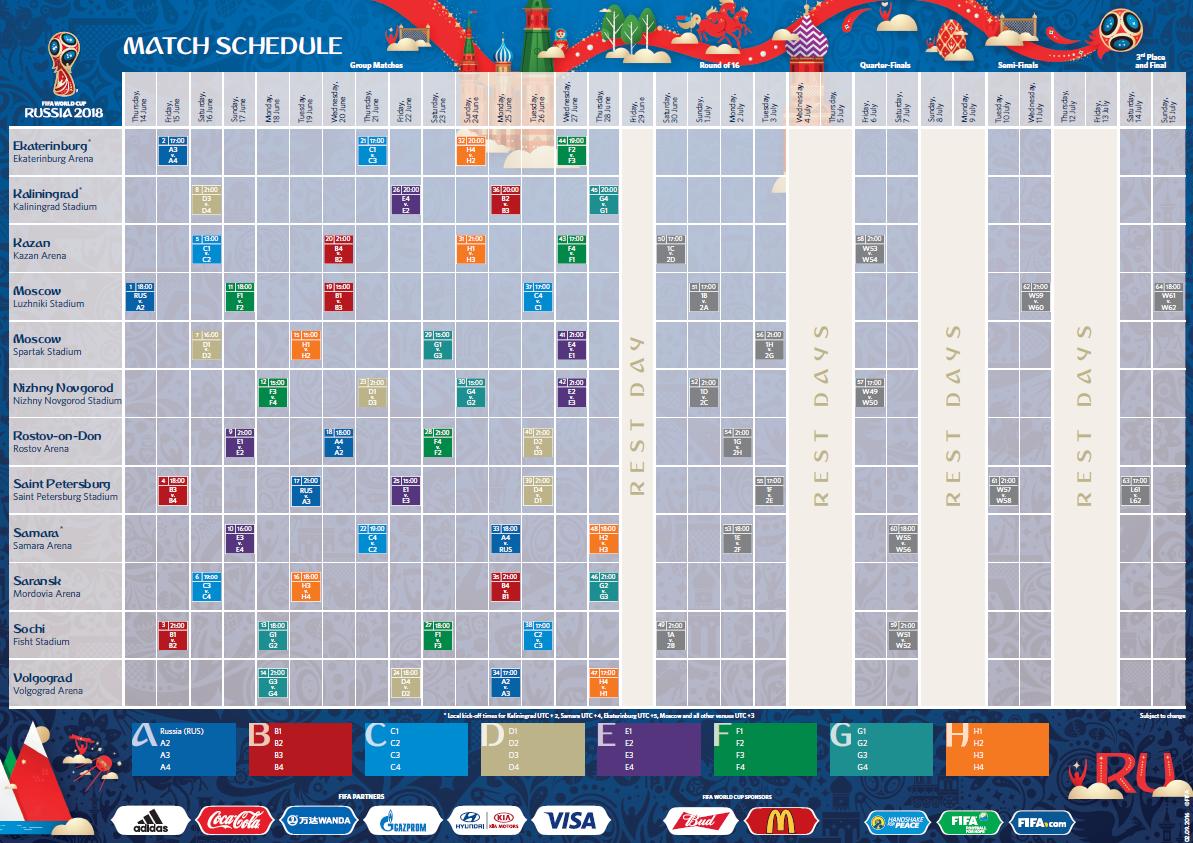 World Cup 2018 Russia Schedule #worldcup #schedule ...