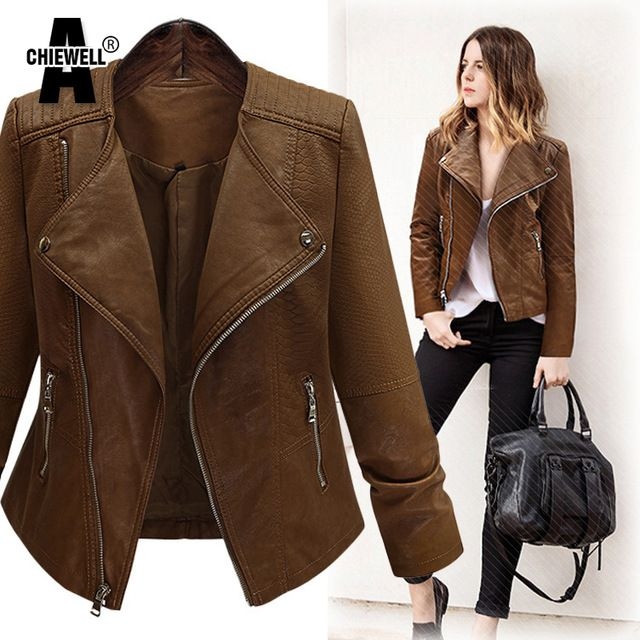 ACHIEWELL Plus Size Winter Women Pu Leather Jacket Long Sleeve Slim Brown  Restoring Motorcycle Women Basic Jacket Coat ~ Shop 4 Xmas n Locate this  beautiful ...