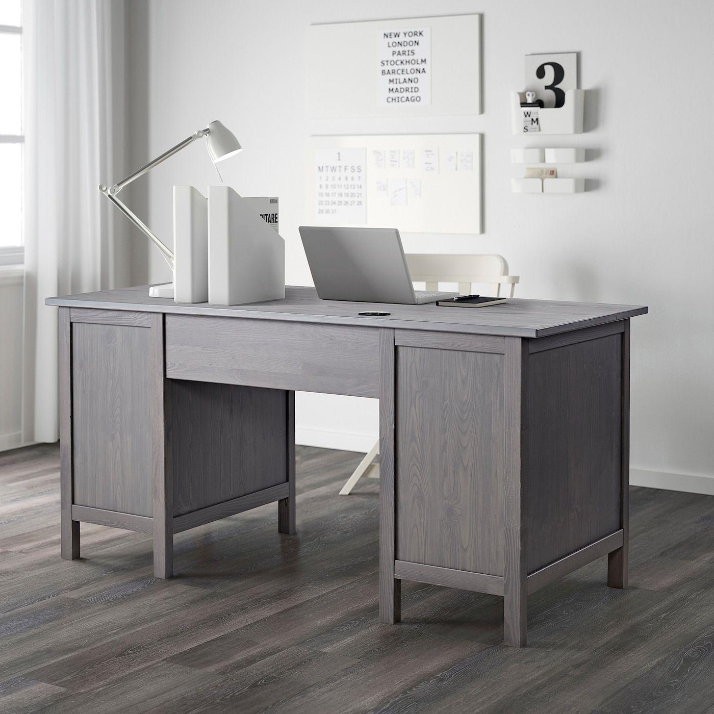 HEMNES Desk dark gray stained IKEA in 2020 Grey desk