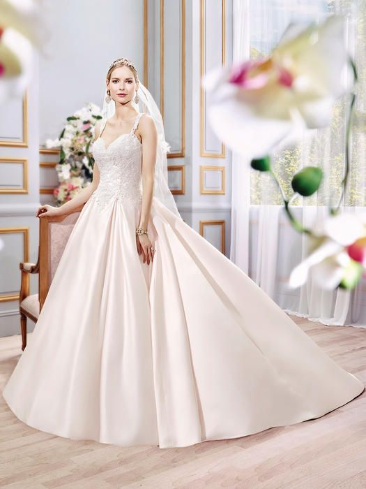 available @Lavish Boutique http://www.wvlavishboutique.com Moonlight Bridal Collection J6392  Ivory size 8 Silhouette: Ball gown Neckline: Sweetheart, Low back Waist: Drop waist Sleeves: Straps Material: Satin/Re-embroidered lace appliques Train: Chapel train Special: Pockets @ side seam