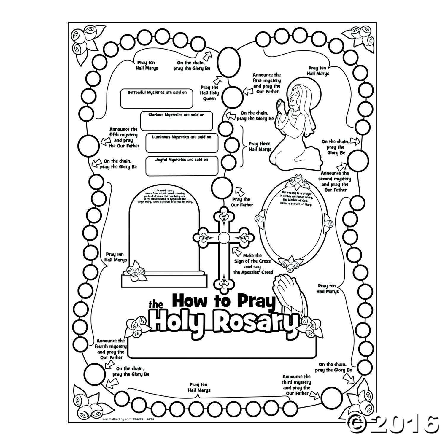 Teach Kids How To Pray The Rosary By Coloring This Poster As A Sunday School Craft Each Has Space For Your Name And Lessons They Learn Paper