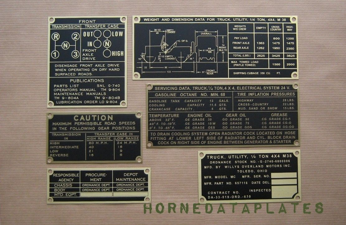 Details About M38 Jeep Brass Data Plates Set Willys Mc G 740 M 38
