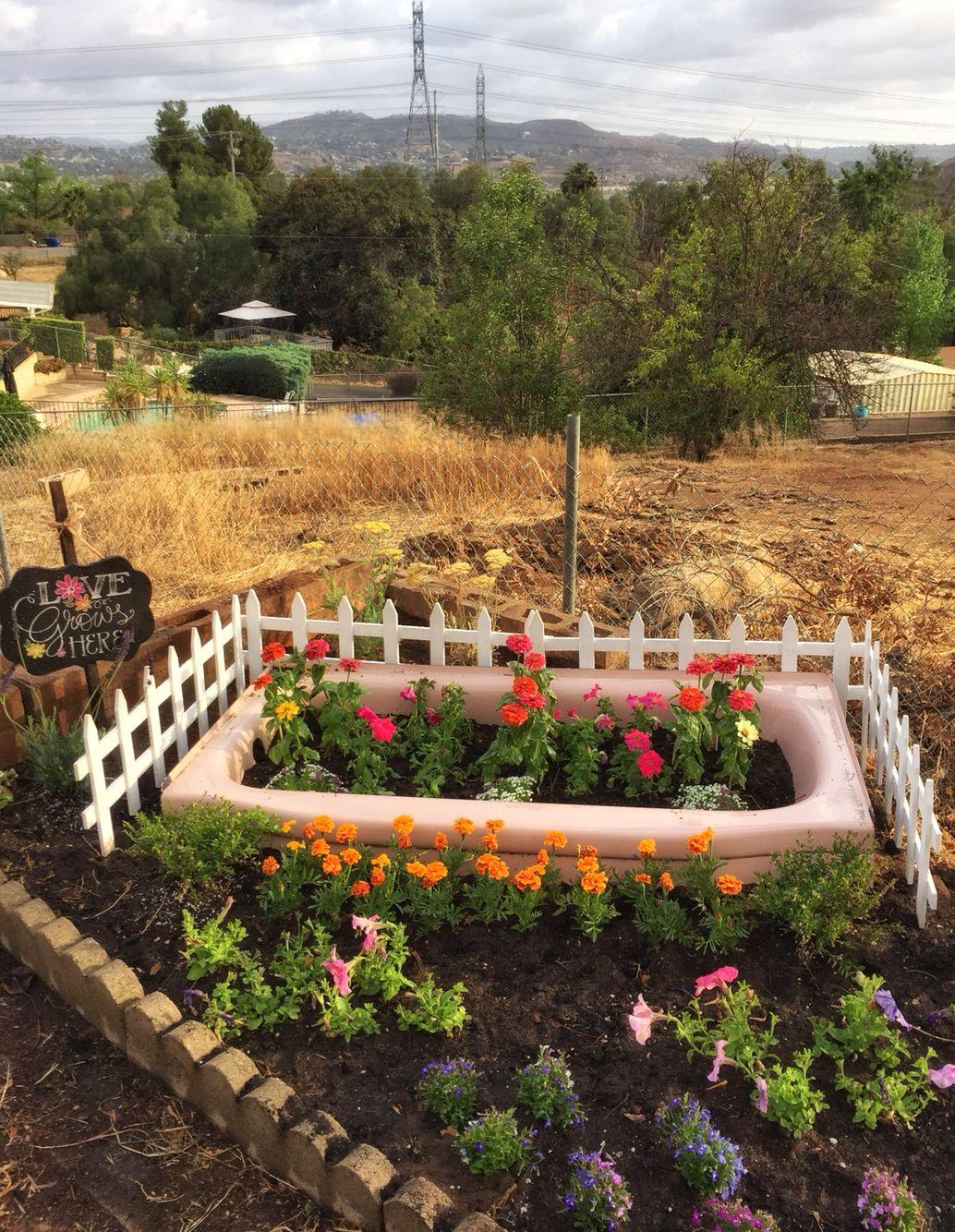 Repurposed bathtub flower bed. | Garden Fun | Pinterest | Repurposed ...
