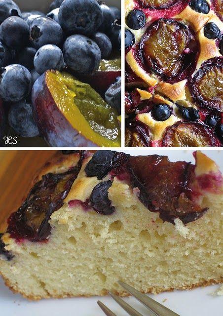 Kuchen mit Zwetschken und Heidelbeeren