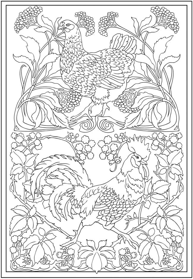 Creative Haven Art Nouveau Animal Designs Coloring Book Dover