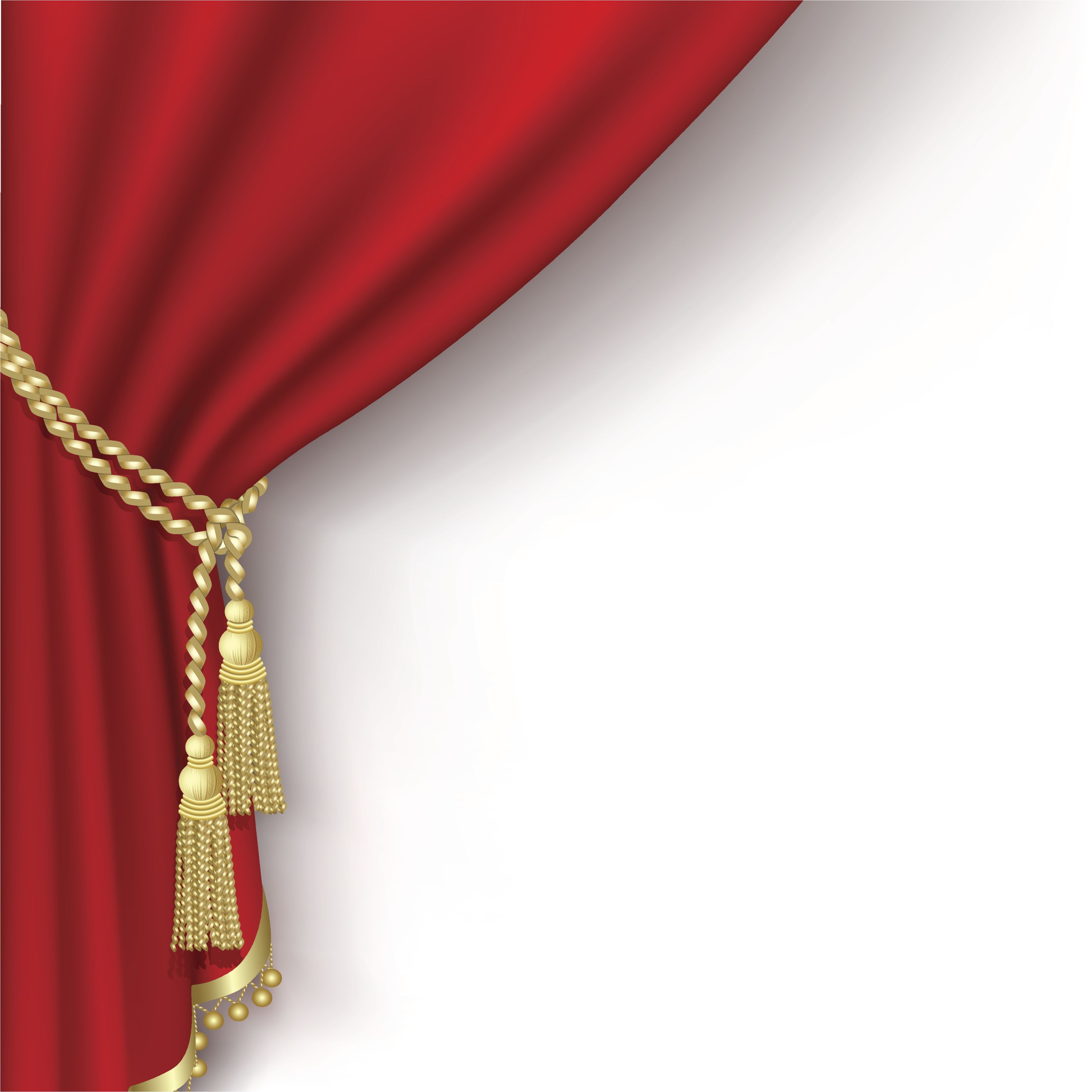Gold stage curtain - Graphic Drama Red Curtain Pulled Back By Gold