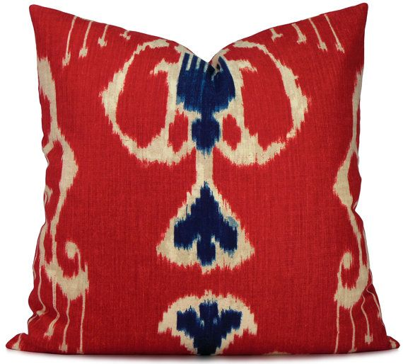 Magnificat Classic Red and Navy Blue Ikat Pillow Cover