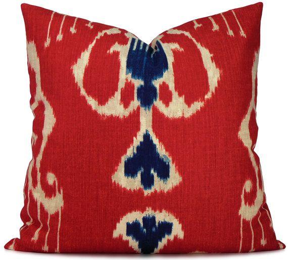 Luxury velvet throw pillow velvet cushion cover Bohemian Velvet Pillow red ikat throw pillow cover 20x20  patterned velvet pillow cover