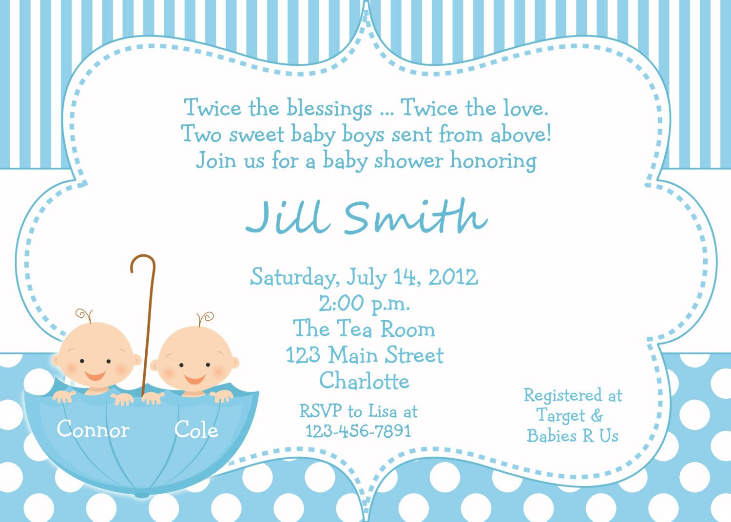 Baby shower invitations twin baby shower invitations blue for Baby shower decoration ideas for twins