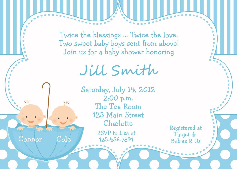 New Design Twin Baby Shower Invitations