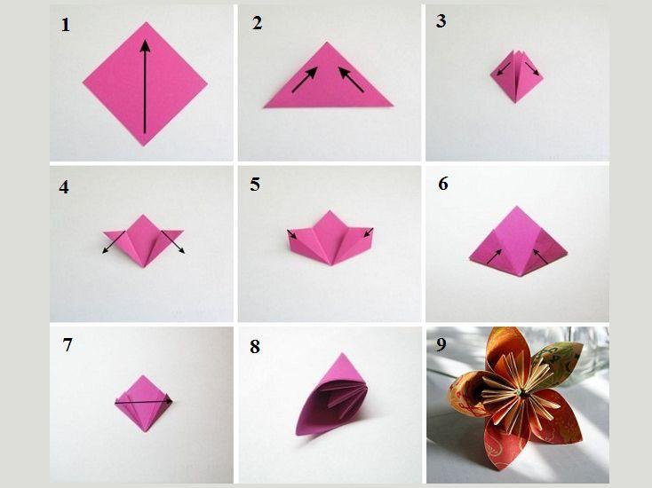 Агния, цветок оригами на открытку