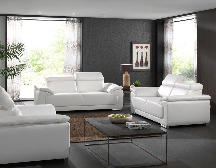 Salon Complet Blanc Napoli Coloris Au Choix Mobilier Design Meuble Moderne Decoration Maison