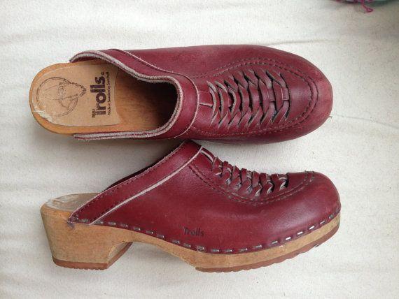 82a88d16031d4 vintage size 8, 70s hippie Swedish wooden leather clogs shoes by ...