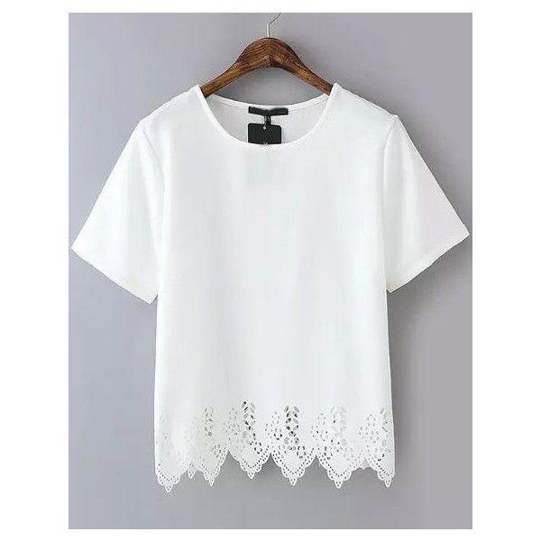White Short Sleeve Lace Hem Chiffon T-Shirt via Polyvore featuring tops, t-shirts, lace top, lace chiffon top, short sleeve tops, white lace top and white chiffon top