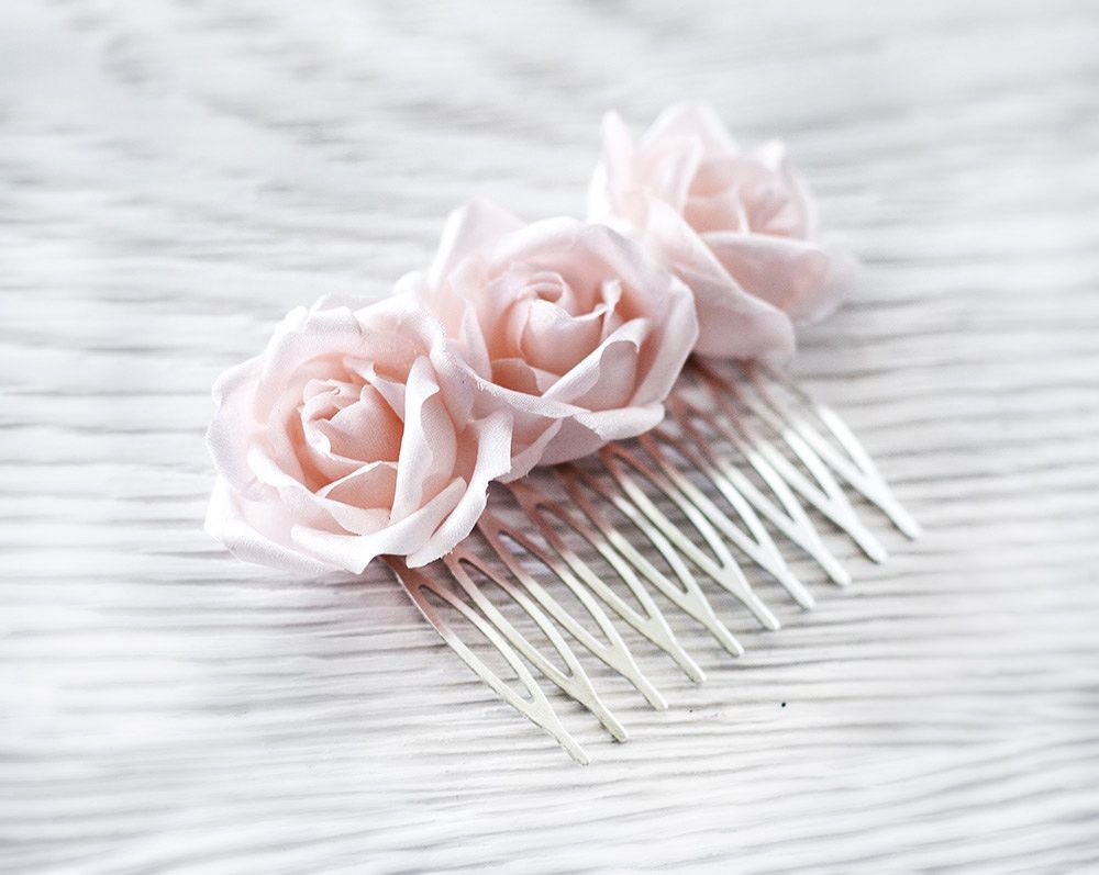 Rose Hair Comb Pink Flower Hair Accessories Silk Rose Hair Comb