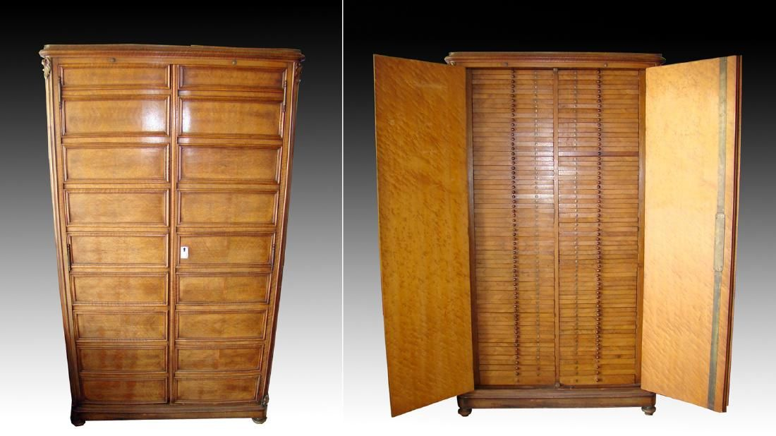 Early / Tall 20th C. Italian Wood Coin Cabinet, ex-King