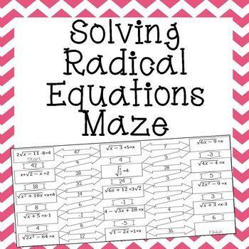 Radical Equations Maze - Advanced | Maze, Equation and Student