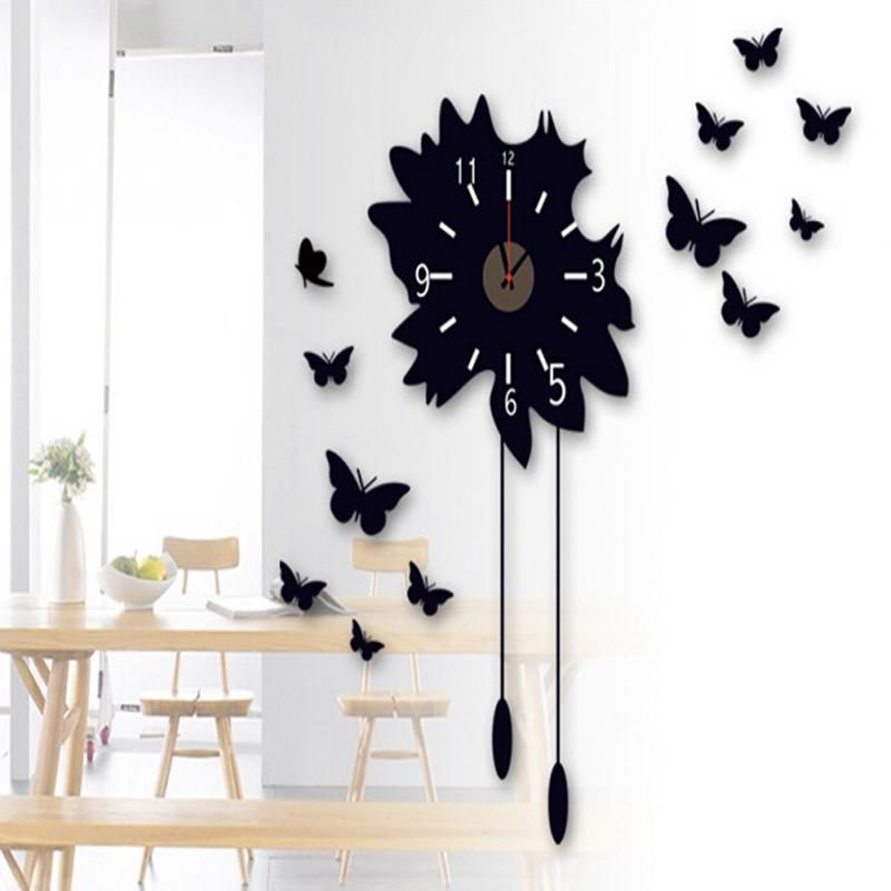 Mirror Wall Clock Fashion Large Size Diy Wall Clock Sticker Home Decor For Living Room Creative D Large Wall Clock Decor Butterfly Wall Decals