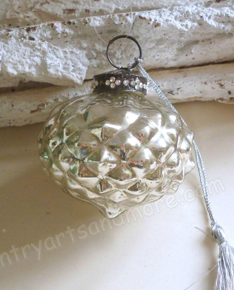 Bauernsilber Christbaumkugeln.Glaskugel Zapfen Bauernsilber Weihnachten Silber
