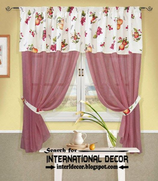 Charmant Stylish Pink Kitchen Curtain Designs, Ideas 2015
