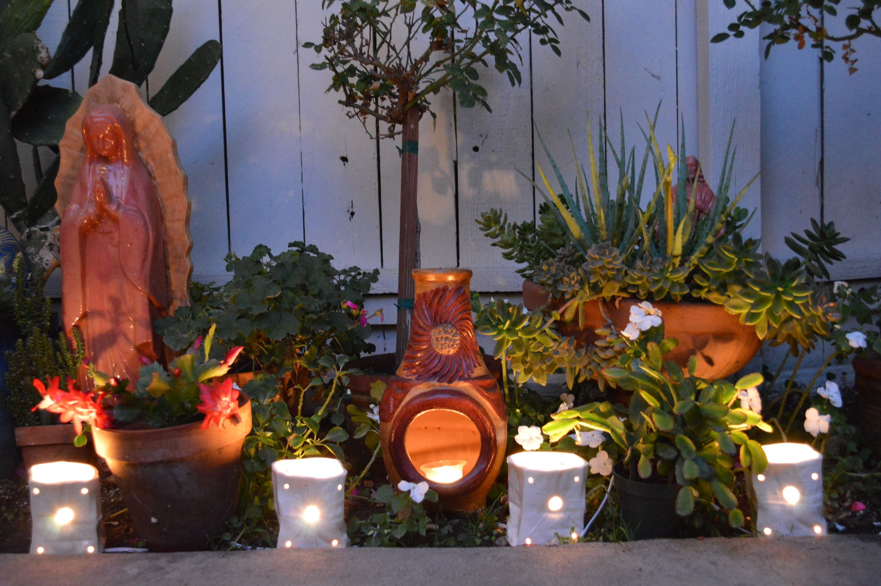Mini Luminaries on my spanish /mexican patio in a December ... on Mexican Patio Ideas  id=18611