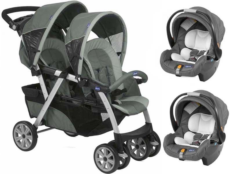 Chicco Together Twin Tandem With 2 Car Seats Graphite