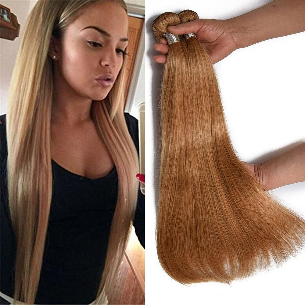 LETMESHINE 27 COLOR HONEY BLOND STRAIGHT HUMAN HAIR WEAVE
