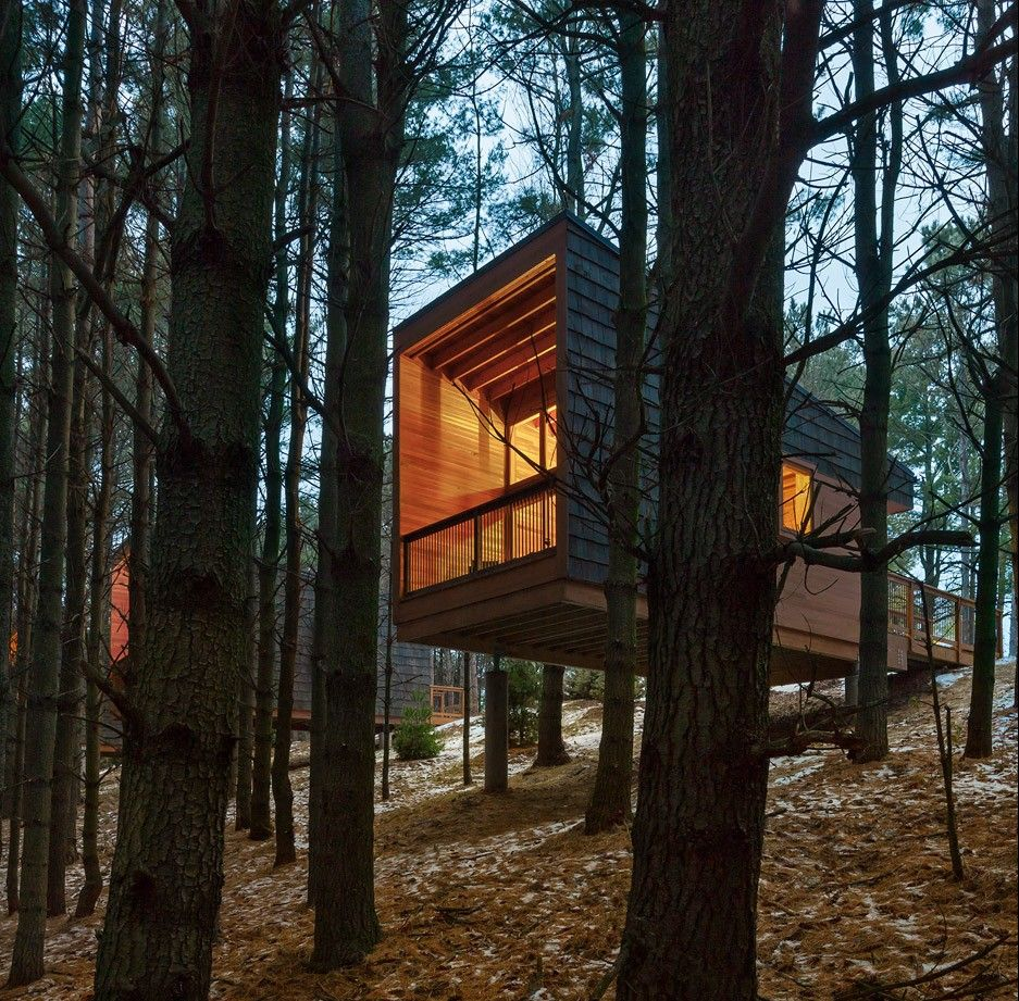 Modern House Design On Small Site Witin A Tight Budget: These Wooden Dwellings Sit Atop Concrete Piers On A