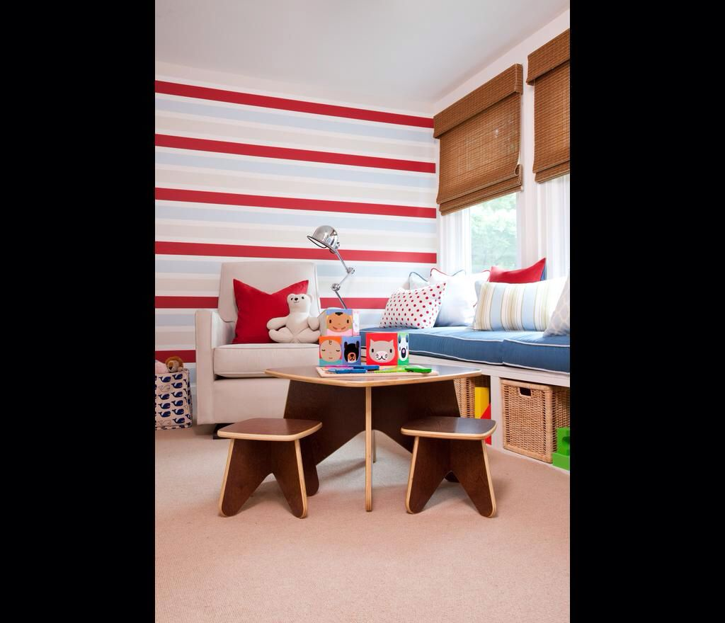 Animated play spaces with bright stripes.