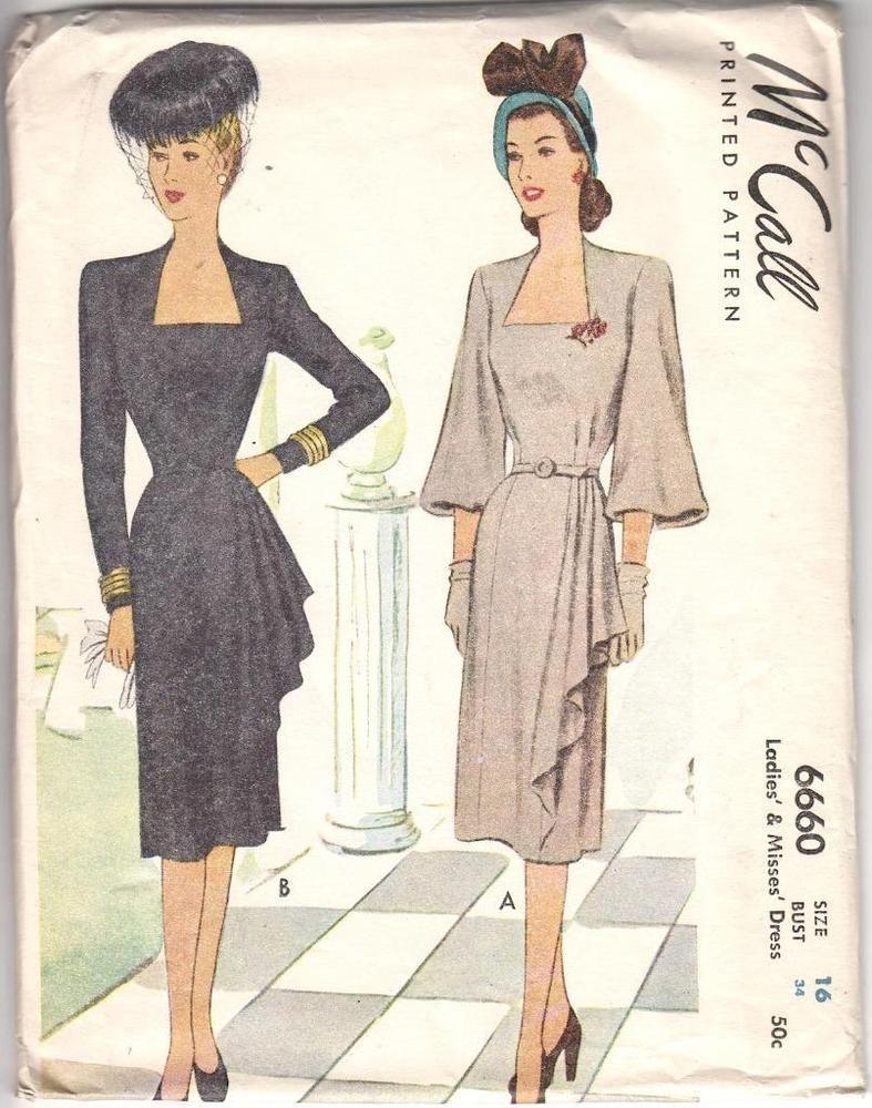 c. 1946 Vintage McCall 6660 Dress Pattern Asymmetrical Skirt Size 16 Complete