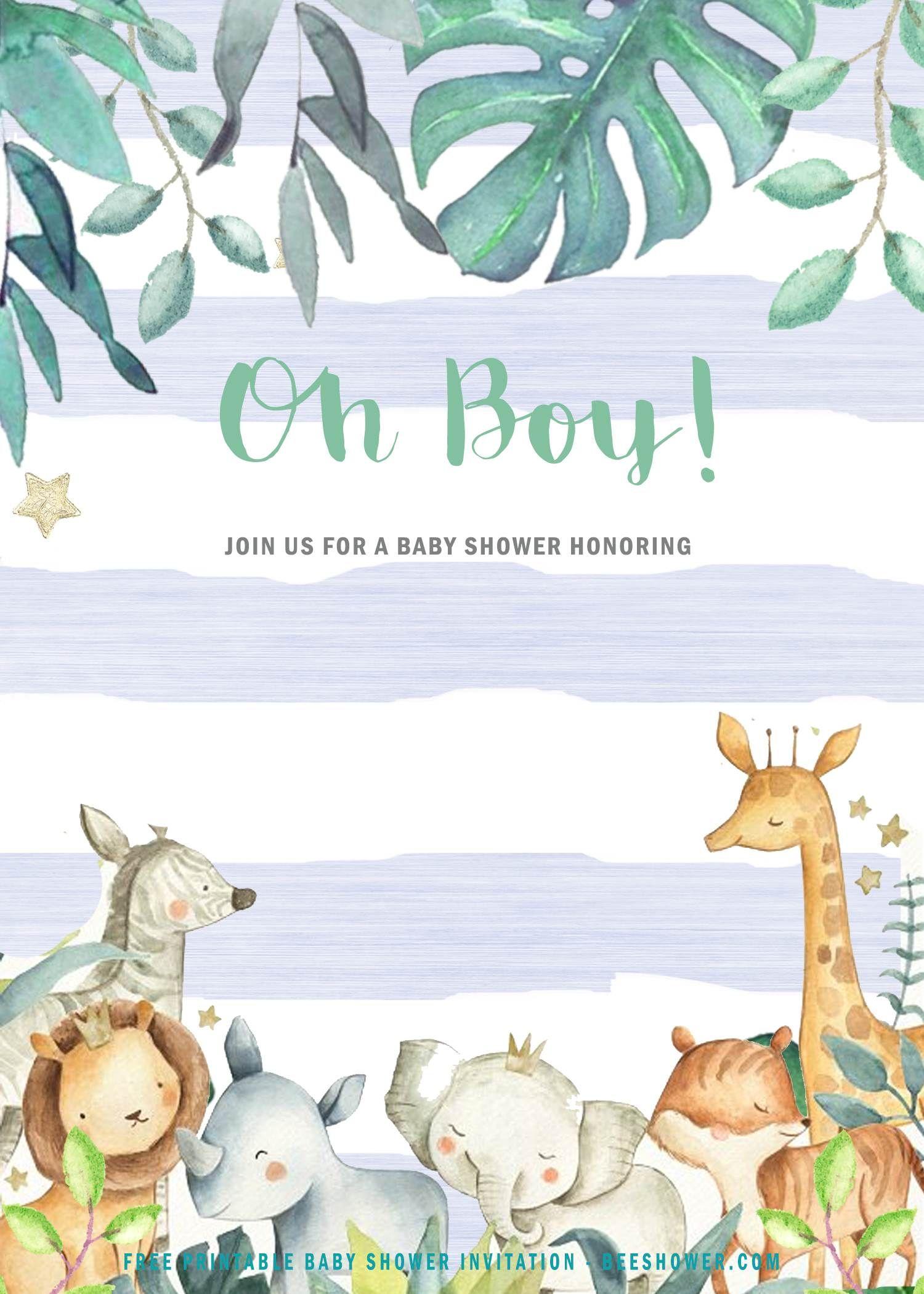 Pin On Baby Shower Safari baby shower invitations template