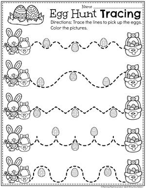Easter Worksheets | Preschool tracing worksheets, Preschool eggs and ...