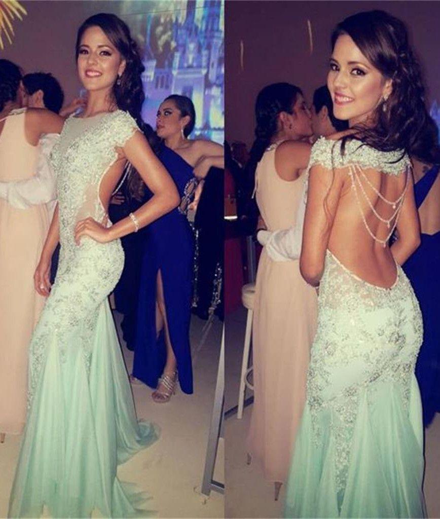 Green backless prom dress  Mint Green Mermaid Prom DressesBackless Formal DressCap Sleeve