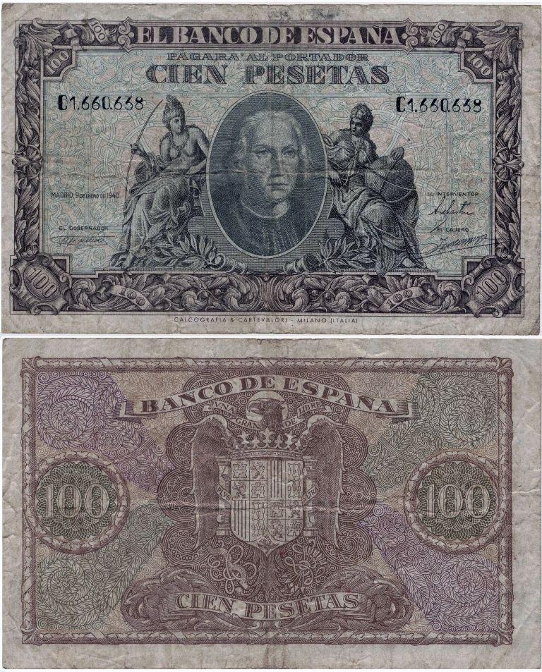 1940- billete 100 pesetas, Madrid